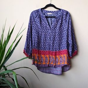 Soft Surroundings Paisley Print V Neck Blouse sz S